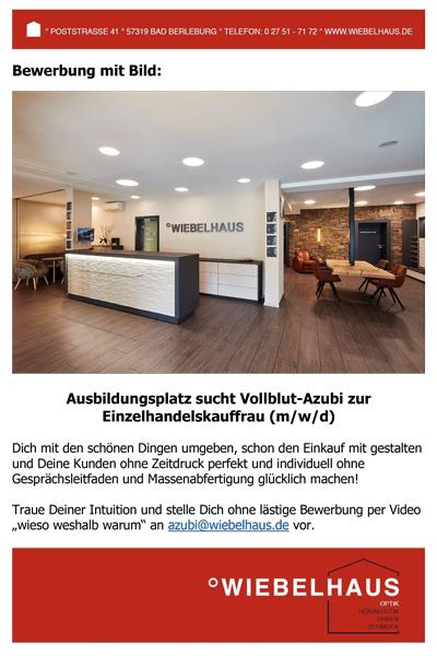 Wiebelhaus Ausbildungsplatz sucht Vollblut Azubi zur Einzelhandelskauffrau